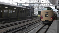 Local Trains at Kyoto Station in Japan Stock Footage