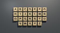 Scrabble letter tiles in English - 3D model
