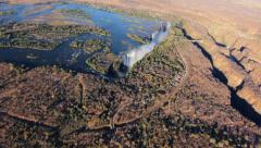 Victoria falls world heritage aerial Stock Footage