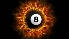 Fiery Billiard Pool Ball in Ring Background, with Alpha Channel Stock Footage
