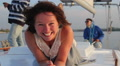 Pretty lady smiling at camera, enjoying rest on sailing yacht Footage