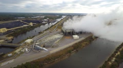 Aerial video coal plant 2 Biloxi Stock Footage