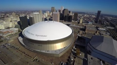 Stock Video Footage of Aerial Downtown New Orleans and Mercedes Dome