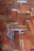 parquet wood old floor surface - stock photo