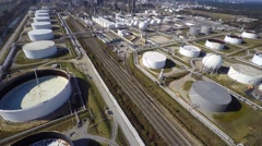 Stock Video Footage of Aerial Phillips 66 refinery 11 aerial