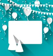 celebration card with party hats, balloons, confetti and hanging flags - stock illustration