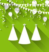 holiday background with party hats, balloons, confetti, and hanging flags - stock illustration