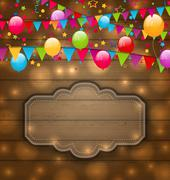 colorful balloons, hanging flags on wooden texture, place for your text - stock illustration