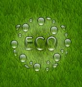 Eco friendly background with water drops on fresh green grass texture Stock Illustration