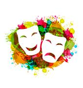 Comedy and tragedy simple masks for carnival on colorful grunge background Piirros