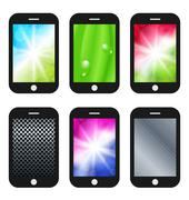 black mobile phone with different wallpapers (abstract backgrounds, leaf text - stock illustration