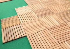 wood brown block plank for floor decoration - stock photo