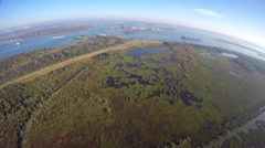 Aerial San Jacinto historic site TX Stock Footage