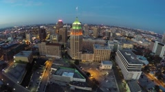 Downtown San Antonio night aerial video footage - stock footage