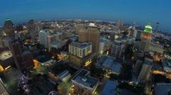 Downtown San Antonio static night aerial Stock Footage