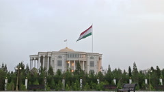 Palace of Nations flag. Dushanbe, Tajikistan Stock Footage