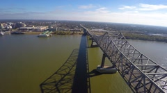 Louisiana Mississippi bridge aerial drone video Stock Footage