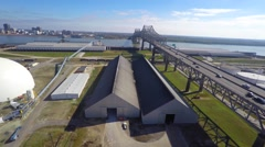 Louisiana Mississippi bridge aerial drone video footage Stock Footage