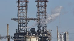 Oil refinery on a hot day 2 Stock Footage