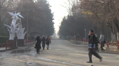 People walking on a street in Kabul Stock Footage