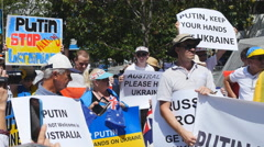 Demo against Putin at G20 1 4K Stock Footage