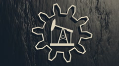 Derrick 3d icon in the center of the rotated empty gear on charcoal backdrop Stock Footage