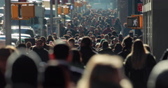 Crowd of commuter people walking on New York City street 4k slow motion - stock footage