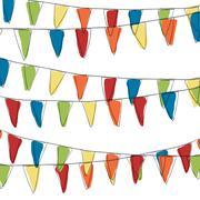 holidays pennant bunting illustration (not seamless) - stock illustration