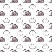 Garnet fruits vector seamless pattern - stock illustration
