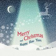 Wonderful christmas landscape. calm winter scene illustration Stock Illustration