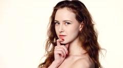 Closeup beauty portrait of beautiful woman Stock Footage