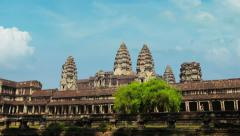 Right to left flyby of angkor wat in time-lapse Stock Footage