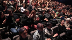 Fans applaud theater artists in the theater. Stock Footage