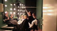 Actresses in the dressing room before the show. - stock footage