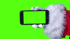 4K Santa Claus with Green Screen Smartphone Stock Footage
