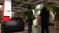 People shop in IKEA store Stock Footage