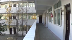 Buildings in a school, with long empty hallways Stock Footage