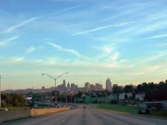 Cincinnati skyline from Interstate 75. sunrise Stock Footage