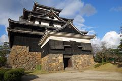 front view of matsue samurai feudal castle in shimane prefecture - stock photo