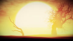 4K Sunset Sunrise with Dried Trees in an Endless Desert 3D Animation 2 - stock footage