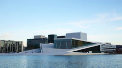 Opera House Oslo Norway time lapse in winter Stock Footage