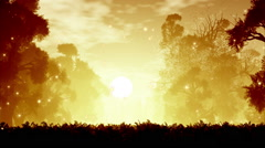 Mysterious Magic Forest with Fireflies Sunset Sunrise 3D Animation 3 Stock Footage