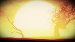 Sunset Sunrise with Dried Trees in an Endless Desert 3D Animation 2 - stock footage