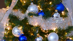 Panning Down Festive Decorated Christmas Tree - stock footage