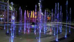 Water Fountain in Netanya with changing lights at night Stock Footage
