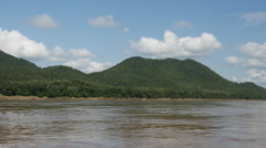 With a boat at the mekong river landscape, Laos Stock Footage