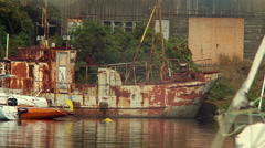 Stock Video Footage of Old rusty ship in harbor, abandonment, destruction, wrecks, click for HD