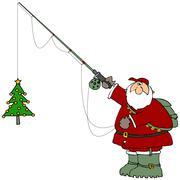 Santa catching a Christmas tree - stock illustration