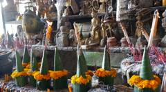 Buddha statues in the Pak Ou Caves, Laos Stock Footage