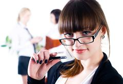 Young attractive business lady - stock photo